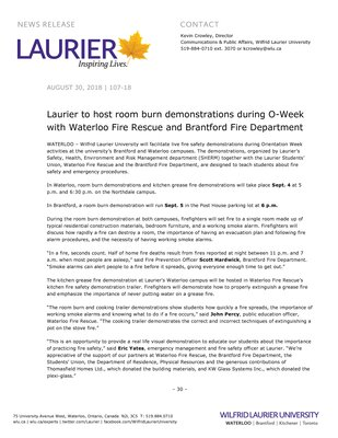 107-2018 : Laurier to host room burn demonstrations during O-Week with Waterloo Fire Rescue and Brantford Fire Department