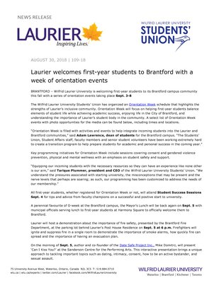 109-2018 : Laurier welcomes first-year students to Brantford with a week of orientation events