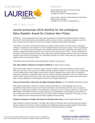 111-2018 : Laurier announces 2018 shortlist for the prestigious Edna Staebler Award for Creative Non-Fiction