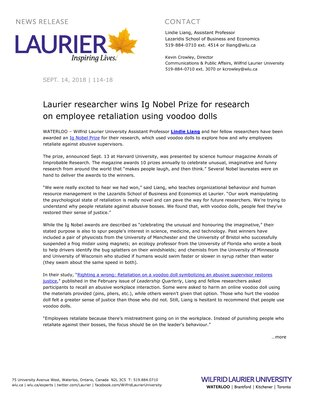 114-2018 : Laurier researcher wins Ig Nobel Prize for research on employee retaliation using voodoo dolls