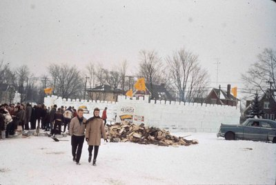 Ice castle at Waterloo Lutheran University Winter Carnival 1962