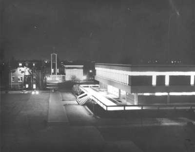 Waterloo Lutheran University campus at night