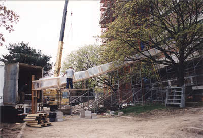 Wilfrid Laurier University Library exterior during 2002 renovation