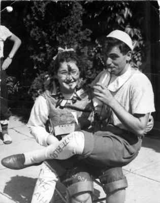 Waterloo College freshmen Alice Bald and Ron Lowe during initiation week, 1947