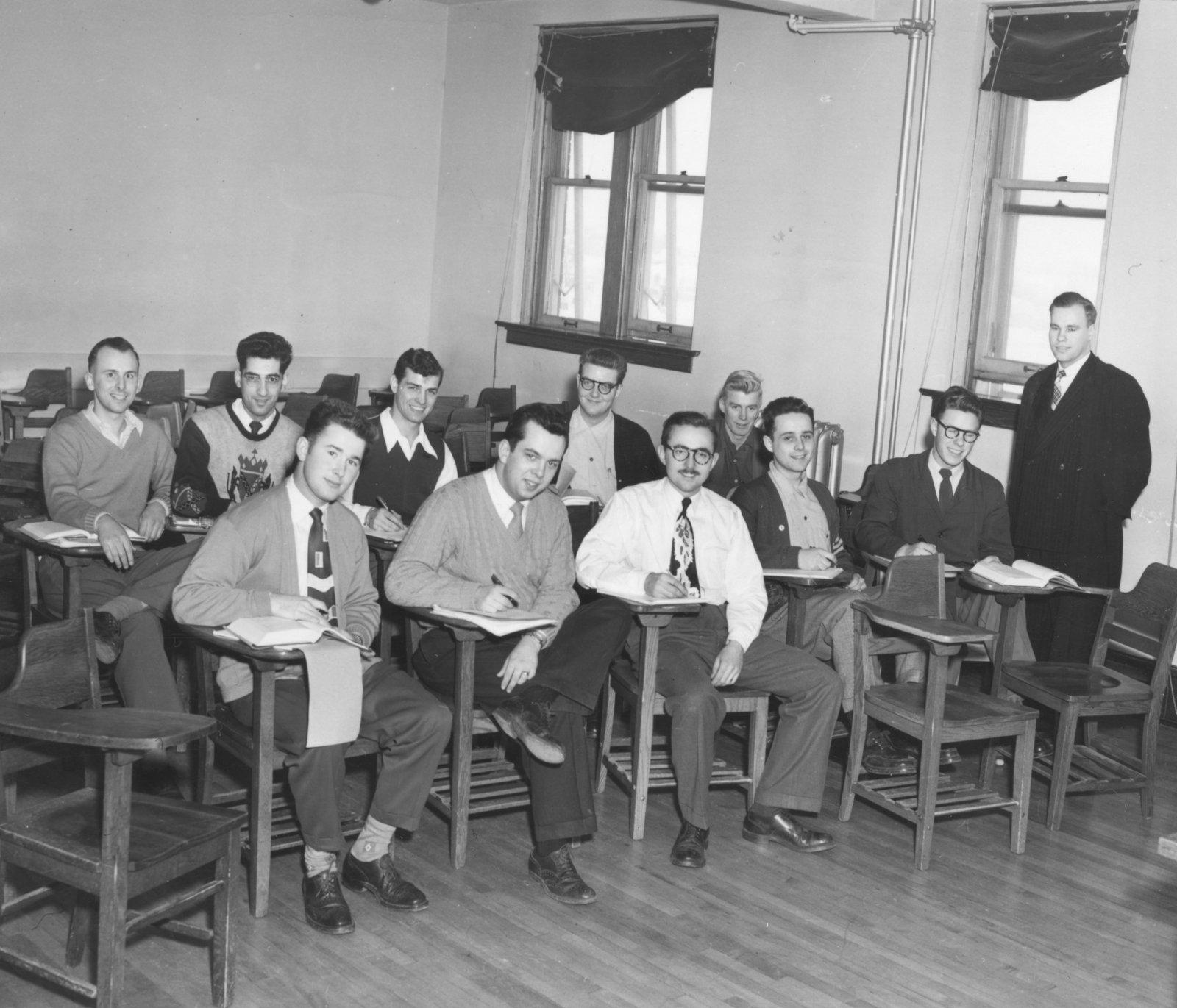 Herman Overgaard with economics students at Waterloo College, 1948-1949