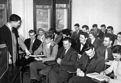 Professor Osborne lecturing to students, Waterloo College