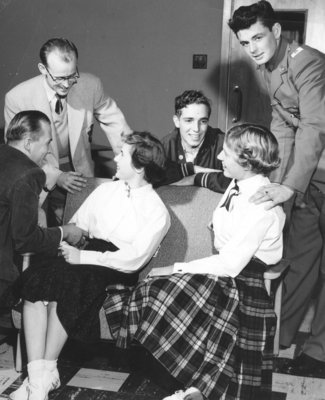 Waterloo College students at registration, September 1954