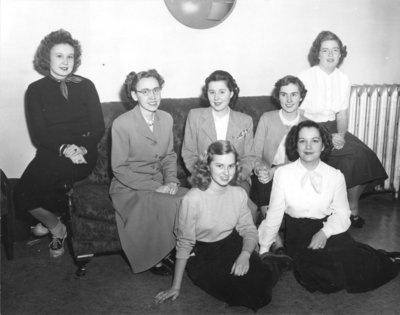 Female Waterloo College students in the women's residence