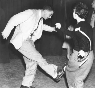 Man and woman dancing at Waterloo College Alumni Reunion, 1955