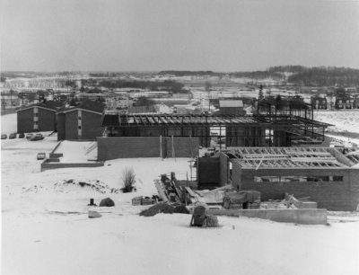 Construction of original Student Union Building and Theatre Auditorium, Waterloo Lutheran University