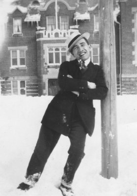 Norman Keffer standing in front of Willison Hall