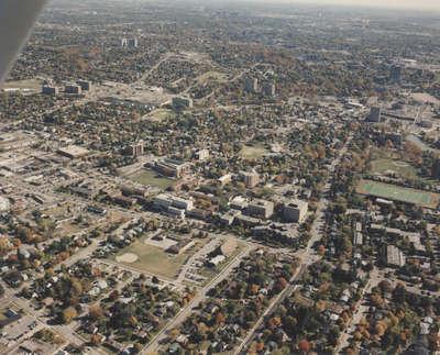 Aerial view of Wilfrid Laurier University, 1994