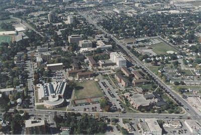 Aerial view of Wilfrid Laurier University, 1995