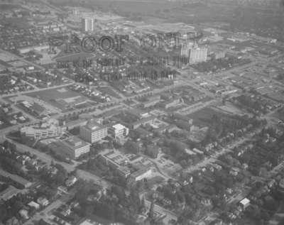 Aerial view of Wilfrid Laurier University, 1982