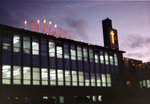 Waterloo Lutheran University Arts Building decorated with Christmas lights