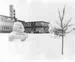 Snowman in front of Arts Building, Waterloo Lutheran University