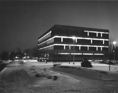 Wilfrid Laurier University Library at night