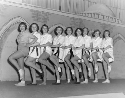 Waterloo College Purple and Gold Revue chorus line, December 1949