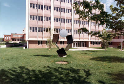 Metal sculpture in front of Central Teaching Building, Wilfrid Laurier University