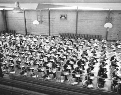 Waterloo Lutheran University students writing an examination