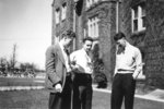 Three male Waterloo College students standing outside of Willison Hall