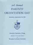 3rd Annual Parents' Orientation Day : Saturday, September 18, 1965