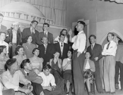 Waterloo College Purple and Gold Revue rehearsal, December 1949