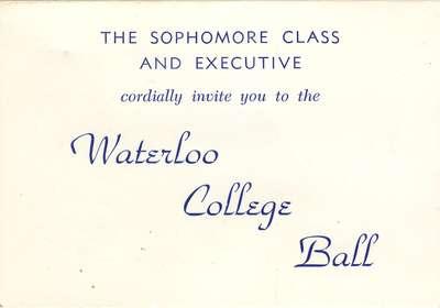 Waterloo College Ball inviatation, 1958