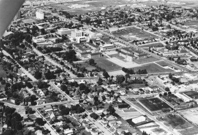 Aerial view of Waterloo Lutheran University, 1971