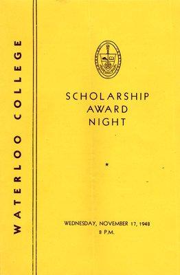 Waterloo College scholarship award night : Wednesday, November 17, 1948