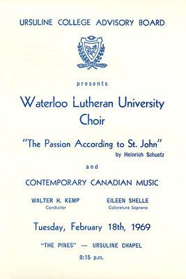 Ursuline College Advisory Board presents Waterloo Lutheran University Choir, 1969