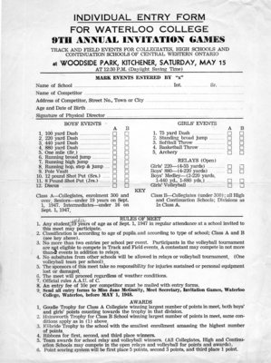 Individual entry form for Waterloo College 9th annual Invitation Games track and field events for collegiate, high schools and continuation schools of central western Ontario