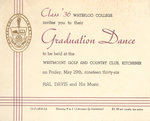 Waterloo College graduation dance invitation, 1936