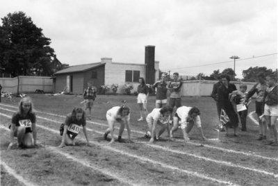 Girls track event, Waterloo College Invitation Games, 1947