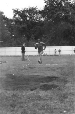 Man jumping, Waterloo College Invitation Games, 1947