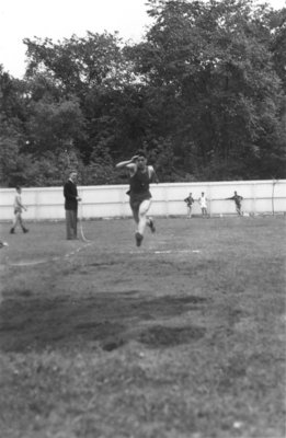 Man jumping, Waterloo College Invitation Games, 1947