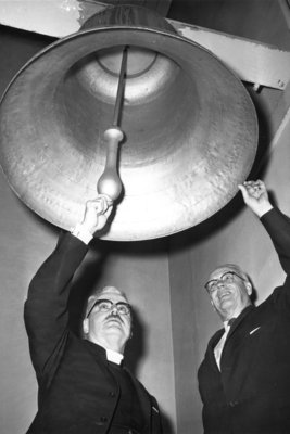 Albert Lotz and J. Ray Houser ringing the Reformation Bell at St. Peter's Lutheran Church, Kitchener
