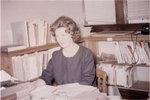 Staff member in Waterloo Lutheran University library, Willison Hall