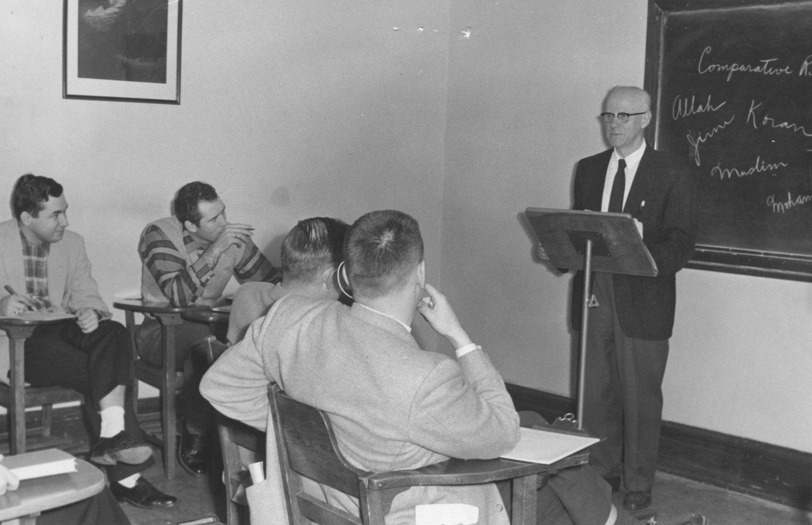 Otto Heick in classroom