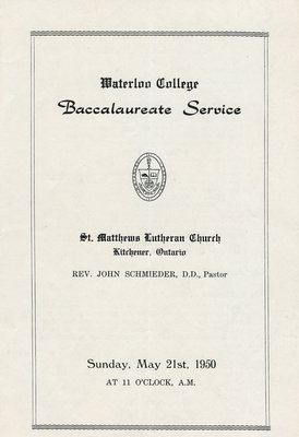 Waterloo College baccalaureate service, May 21, 1950