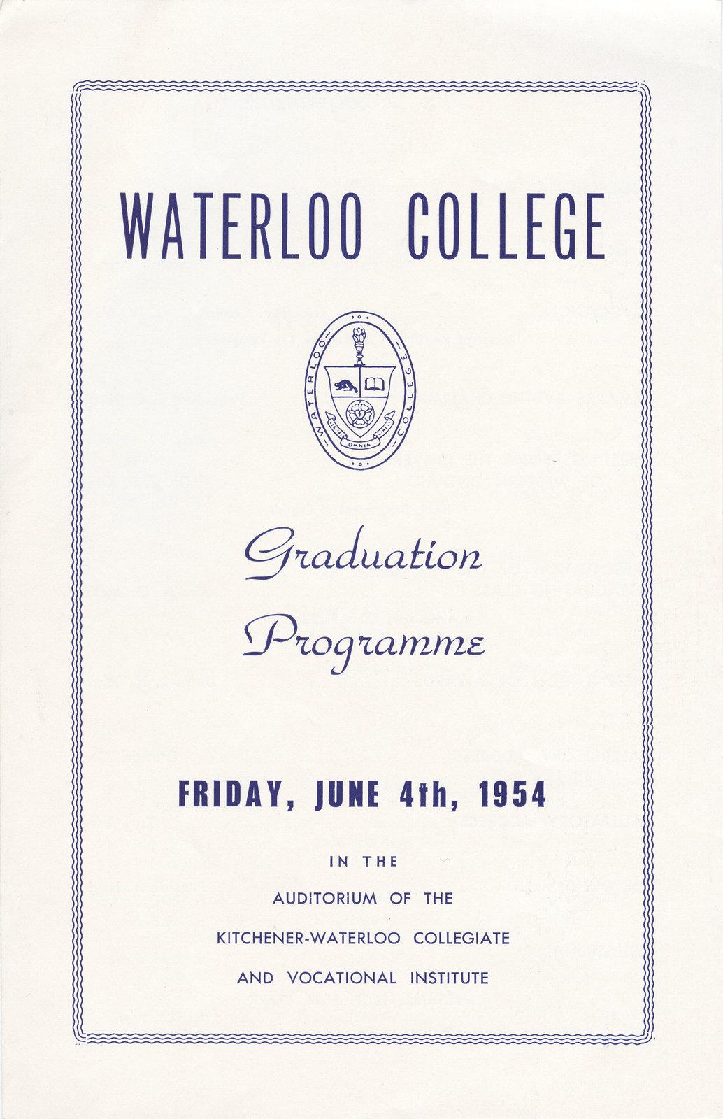 Waterloo College Graduation Programme, 1954