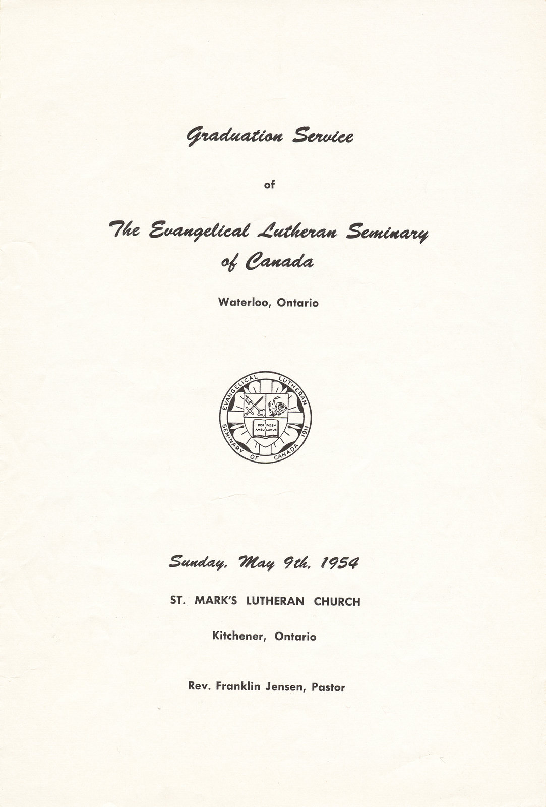 Graduation Service of the Evangelical Lutheran Seminary of Canada, 1954