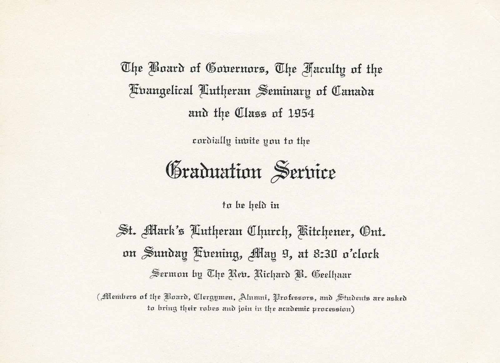 Evangelical Lutheran Seminary of Canada graduation service invitation, 1954