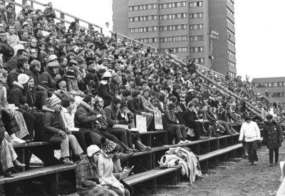 Waterloo Lutheran University football fans at an away game