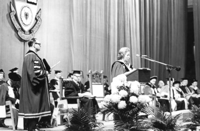 Convocation 1969: Norah Michener making a speech during Fall Convocation 1969