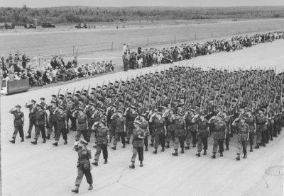 Military parade at Camp Gagetown, 1957