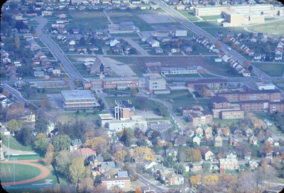 Aerial view of Waterloo Lutheran University campus, 1967