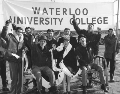 Waterloo Lutheran University bed push, 1961