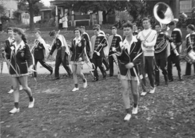 Ryerson marching band in Waterloo College Homecoming Parade, 1955