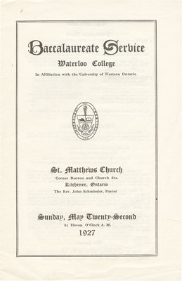 Waterloo College baccalaureate service, May 22, 1927